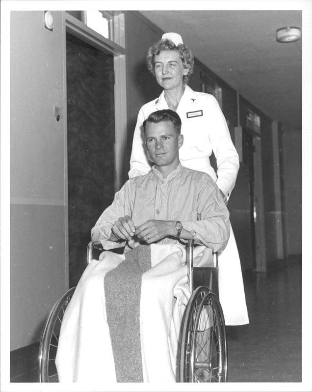 patient in wheelchair 1950s